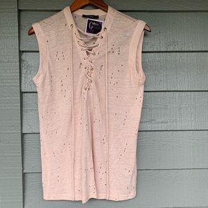 NWT Olivaceous Blush Lace Up Tank Top Sz Small